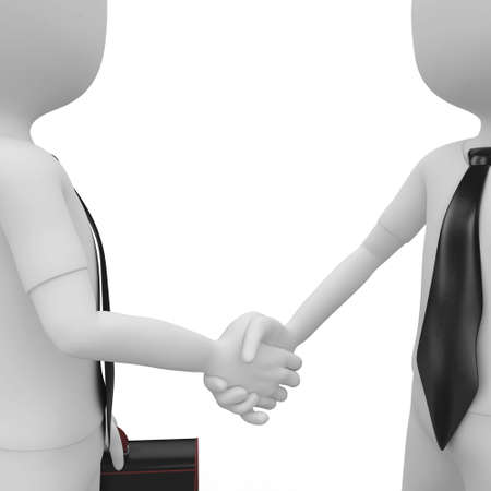 handclasp: 3d man business shaking hands isolated on white Stock Photo