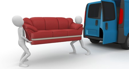 mover: 3d man moving furniture isolated on white Stock Photo
