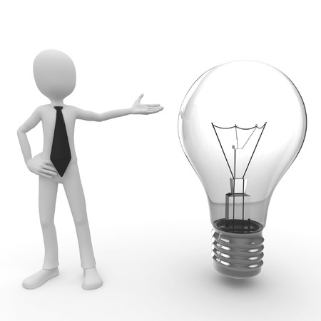 3d man with lightbulb isolated on white