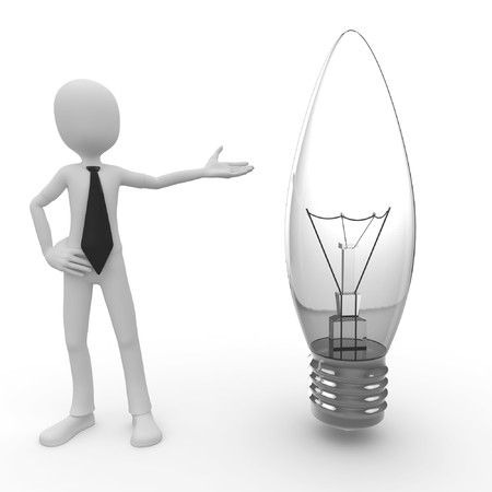 3d man with lightbulb isolated on white photo