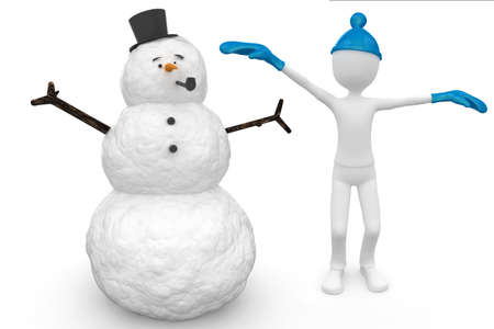 3d man and snowman with hat and pipe  isolated on white photo