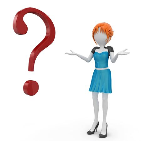 3d girl with question mark isolated on white Stock Photo - 8187995
