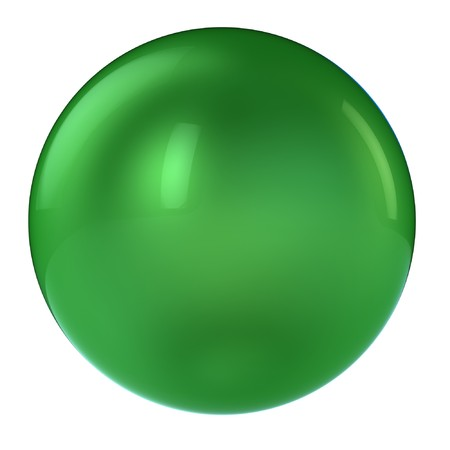 3d green sphere isolated on white photo