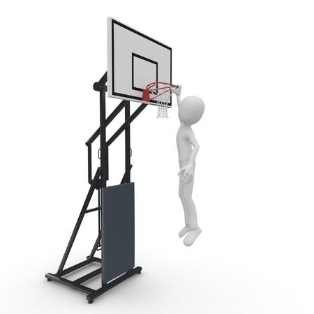 3d man slam dunk isolated on white photo