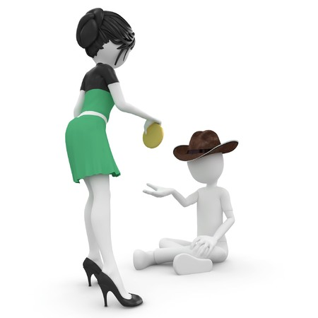 3D hombre mendigo pobre hombre aislado en blanco