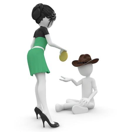 hombre pobre: 3D hombre mendigo pobre hombre aislado en blanco