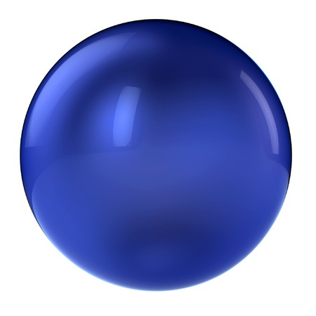 blue button: 3d blue sphere in studio environment isolated on white