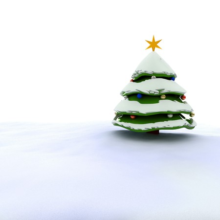 3d Christmas tree with snow isolated on white photo