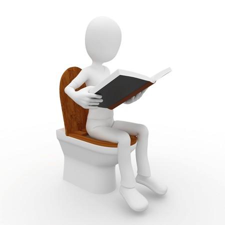 3d man reading on toilet  isolated on white Stock Photo - 8187992