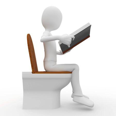 3d man reading on toilet  isolated on white Stock Photo - 8187980