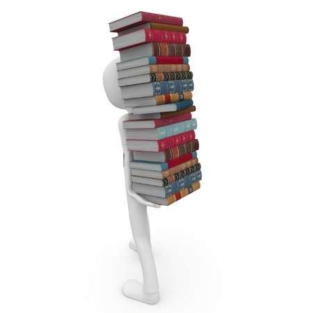 3d man with books isolated on white Stock Photo - 8188144