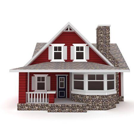 maison 3D isolé sur fond blanc rendu générique