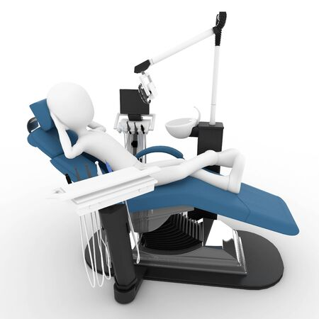 3d man with dentist chair isolated on white photo