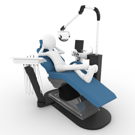 dientes con caries: hombre 3D con silla de dentista aislado en blanco  Foto de archivo