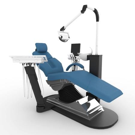 dientes con caries: 3D de silla de dentista, aislado en blanco