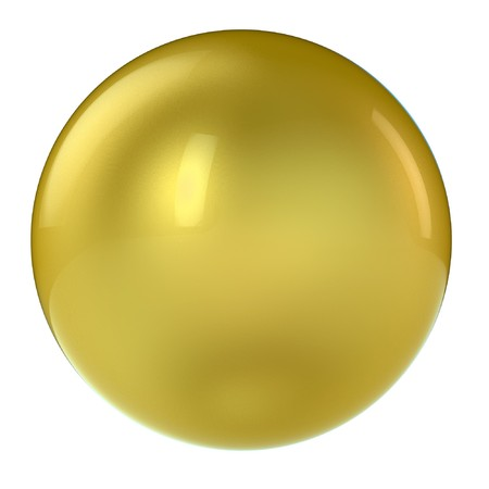 3d golden sphere in studio environment isolated on white photo