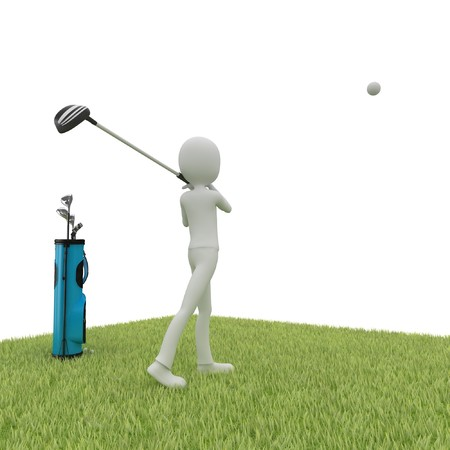 3d man with golf course isolated on white photo