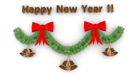 3d Happy New Year decoration  isolated on white photo