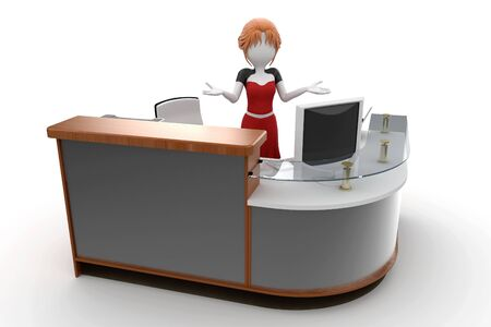 3d girl working at the help desk isolated on white photo
