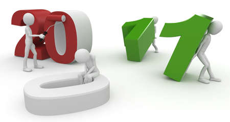 3d man with 2011 numbers isolated on white photo