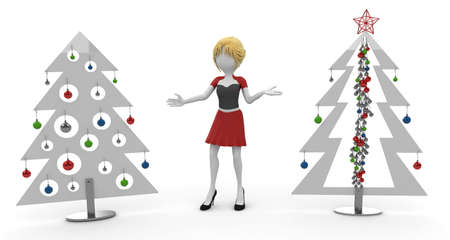 3d girl with Christmas trees  isolated on white photo