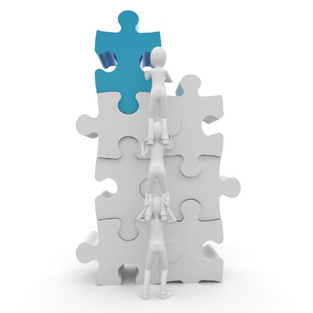 3d man with puzzle isolated on white photo