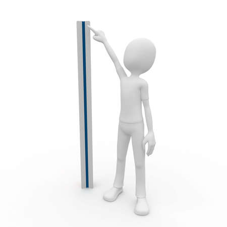 measuring instrument: 3d man with ruler isolated on white Stock Photo