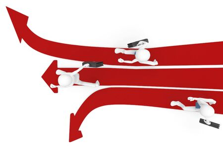 3d man race with multiple arrow paths isolated on white Stock Photo - 8188009