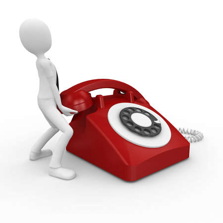 retro phone: 3d business  man with red telephone isolated on white