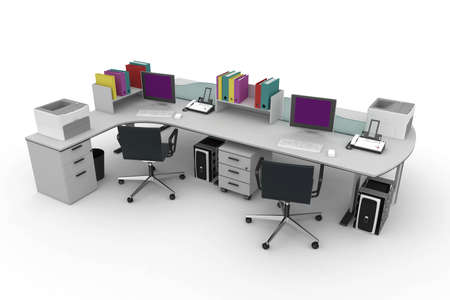 3d furniture office space with chairs and screens photo