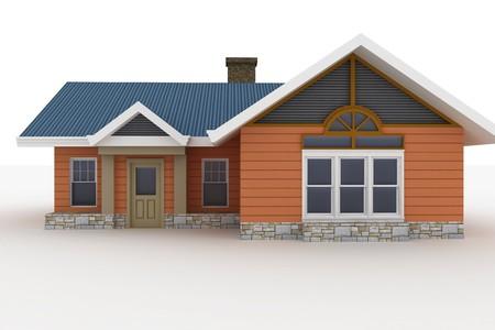 fachadas de casa: Casa 3D aislado en blanco prestados gen�rico