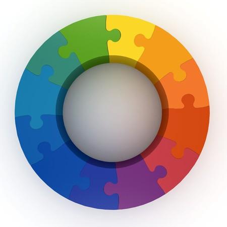 circulos concentricos: rueda de color de rompecabezas 3D aislado en blanco  Foto de archivo