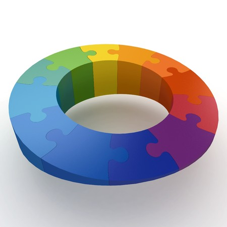 3d puzzle color wheel isolated on white Stock Photo - 8187885