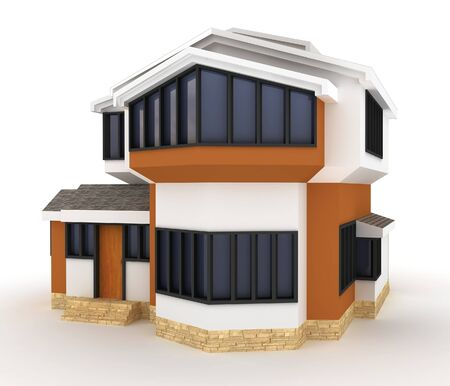 3d house isolated on white rendered generic Stock Photo - 8187916