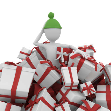 3d man with christmas gift boxes isolated on white photo