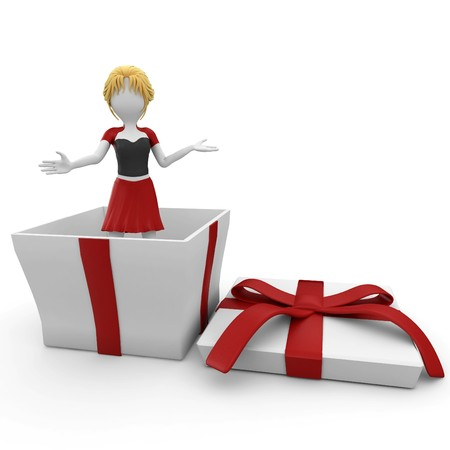 3d girl with christmas gift box isolated on white photo