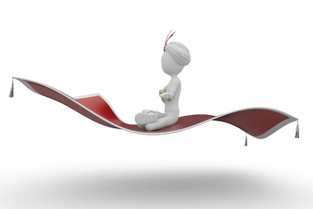 guru: 3d man with flying carpet isolated on white