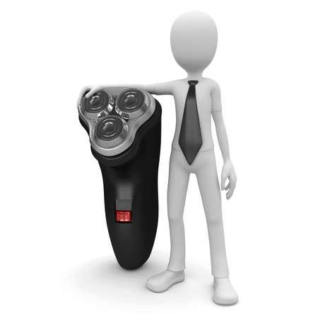 shaving: 3d man with shaving machine isolated on white Stock Photo
