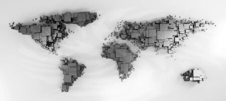 3d world map rendering out of blocks photo