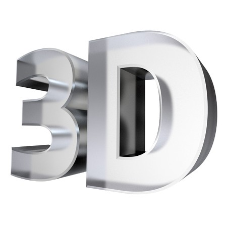 the third dimension: 3d shiny word 3D made of glass isolated on white Stock Photo