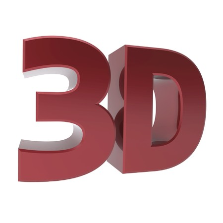 three dimensions: shiny metallic 3d word 3D made of red chrome