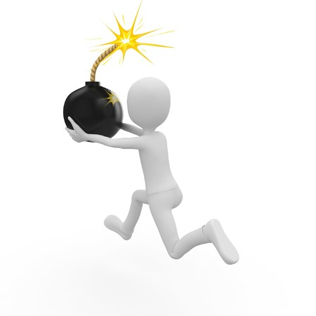 3d man running with the bomb isolated on white Stock Photo - 8188192