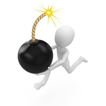 3d man running with the bomb isolated on white Stock Photo - 8188309