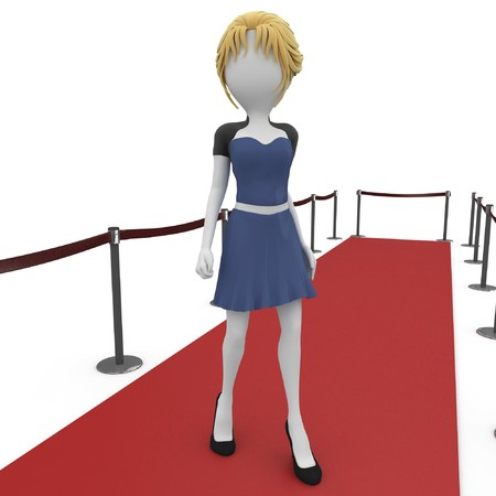 3d  girl posing on the red carpet isolated on white photo