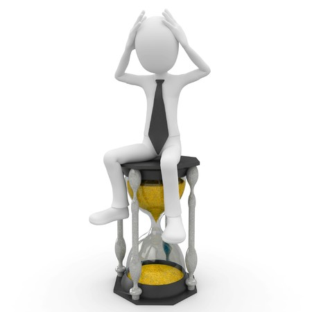 wait: 3d man with hourglass isolated on white