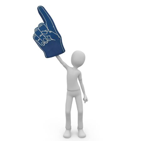 3d man with foam finger isolated on white photo