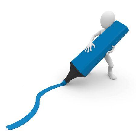 hombre 3D con marcador de trazar una línea aislada en blanco