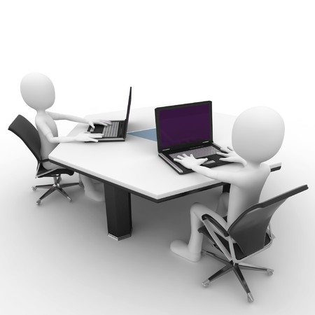 3d man at the office isolated on white Stock Photo - 8188104