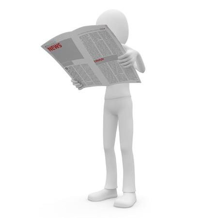 3d man with newspaper isolated on white photo