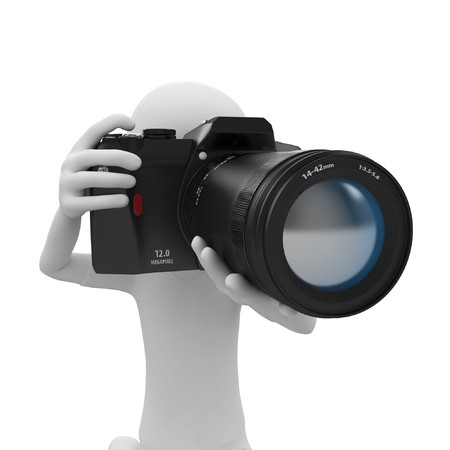 creative shot: 3d man with DSLR camera isolated on white